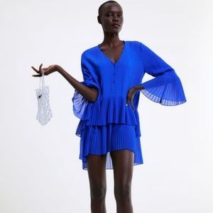 Zara Royal Blue Pleated Tiered Ruffle Bell Sleeve